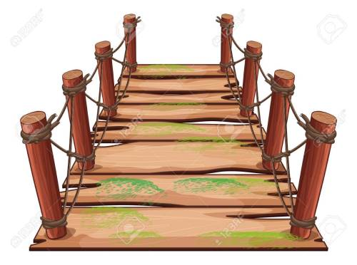 small resolution of vector wooden bridge on white background illustration