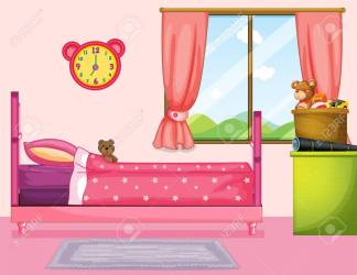 Bedroom With Pink Bed And Curtain Illustration Royalty Free Cliparts Vectors And Stock Illustration Image 82339086
