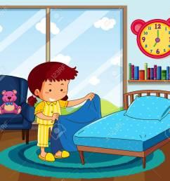 girl in yellow pajamas making bed in bedroom illustration stock vector 94883886 [ 1300 x 1157 Pixel ]