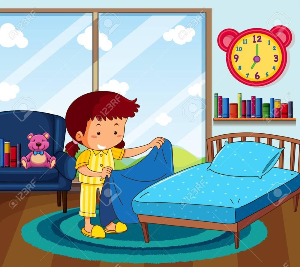 medium resolution of girl in yellow pajamas making bed in bedroom illustration stock vector 94883886