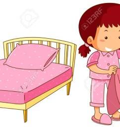 little girl making bed illustration stock vector 94887721 [ 1300 x 730 Pixel ]