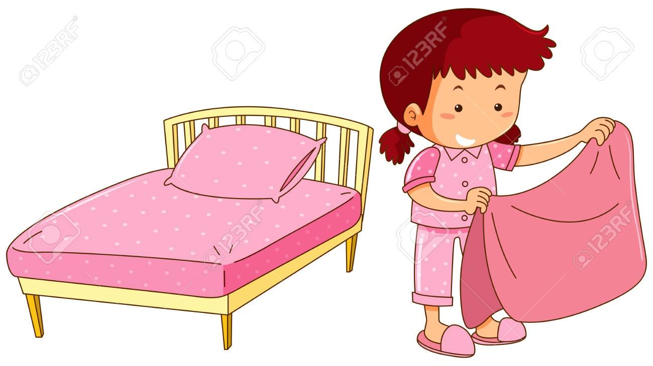 hight resolution of little girl making bed illustration stock vector 94887721