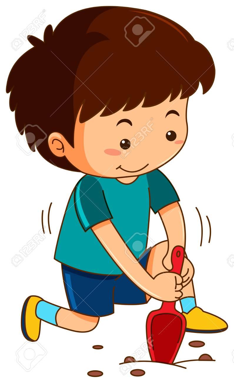 medium resolution of little boy digging hole with garden spoon illustration stock vector 94887826