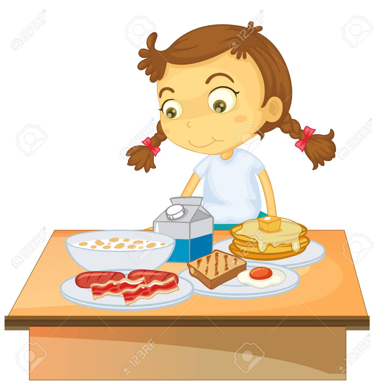 hight resolution of a girl eating breakfast on white background illustration stock vector 100959628