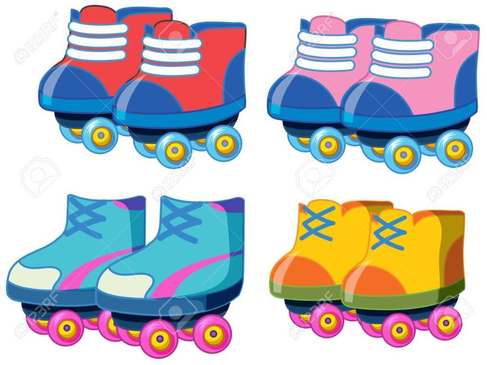 medium resolution of set of roller skate shoes illustration stock vector 121751864