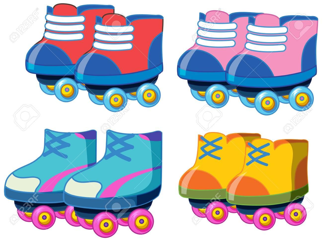hight resolution of set of roller skate shoes illustration stock vector 121751864