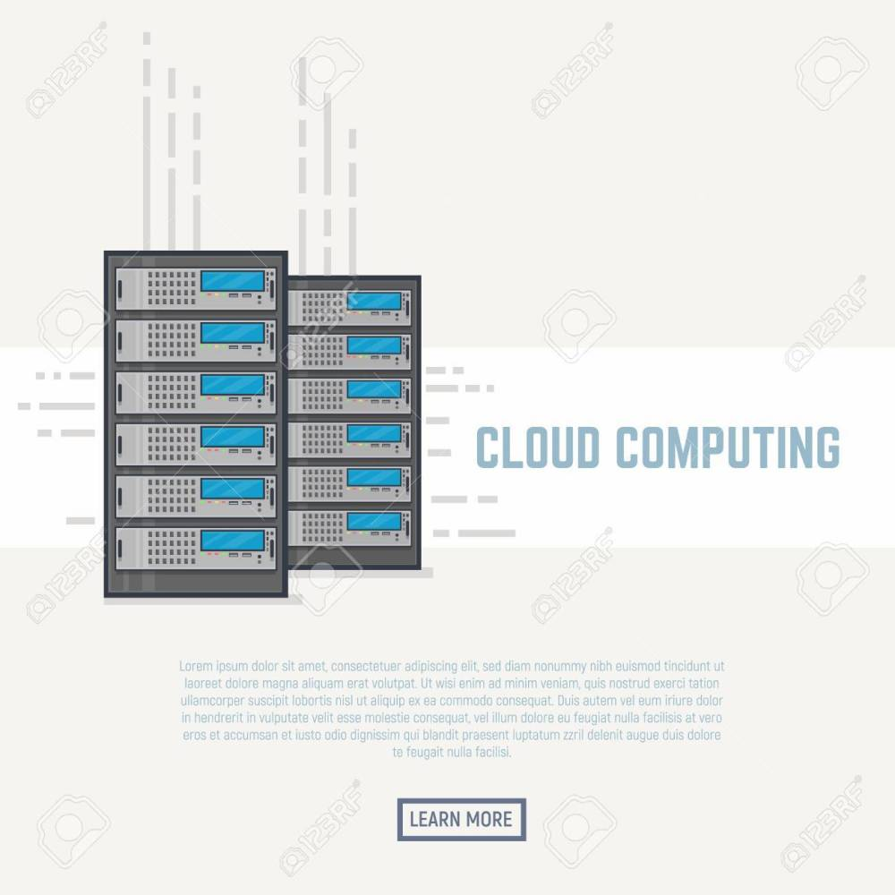 medium resolution of server room rack hardware with internet cables cloud storage concept flat style line modern