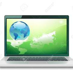 laptop and globe concept vector illustration stock vector 78767545 [ 1300 x 1101 Pixel ]