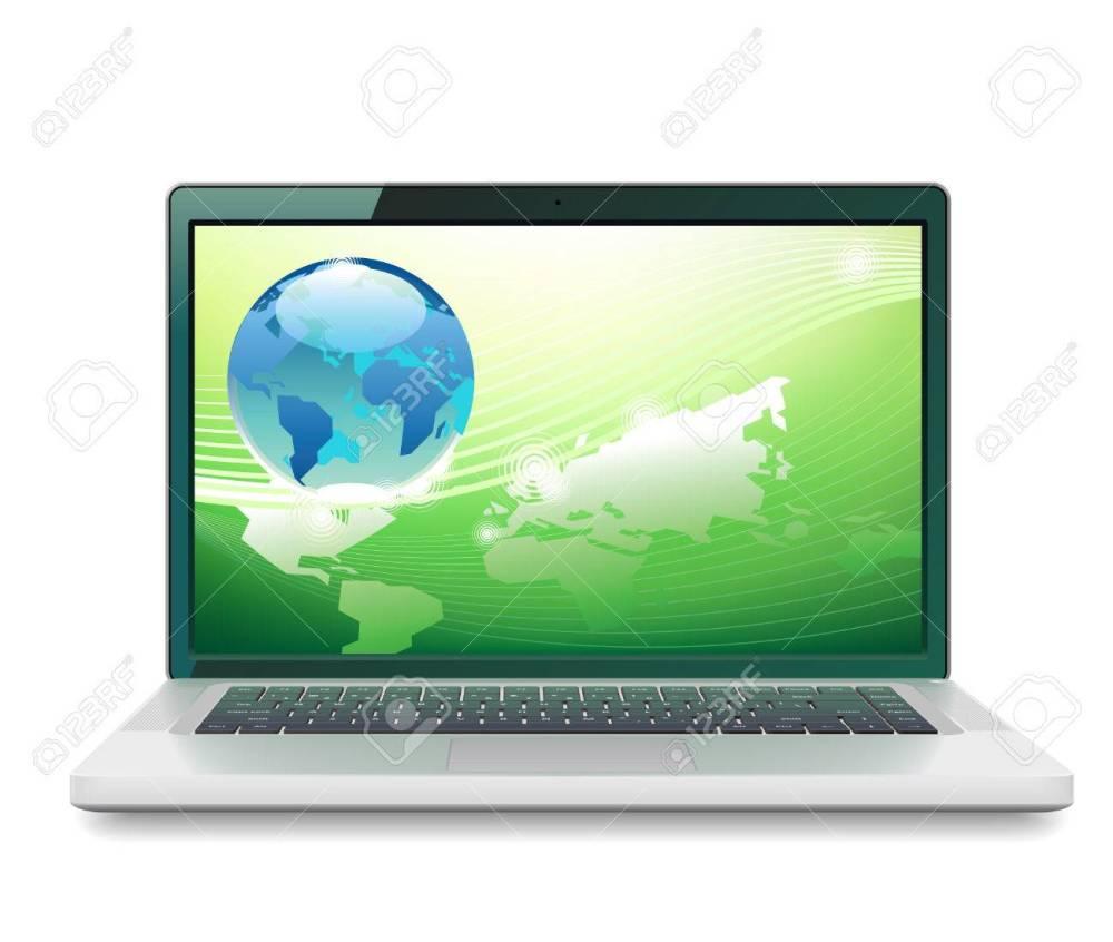 medium resolution of laptop and globe concept vector illustration stock vector 78767545