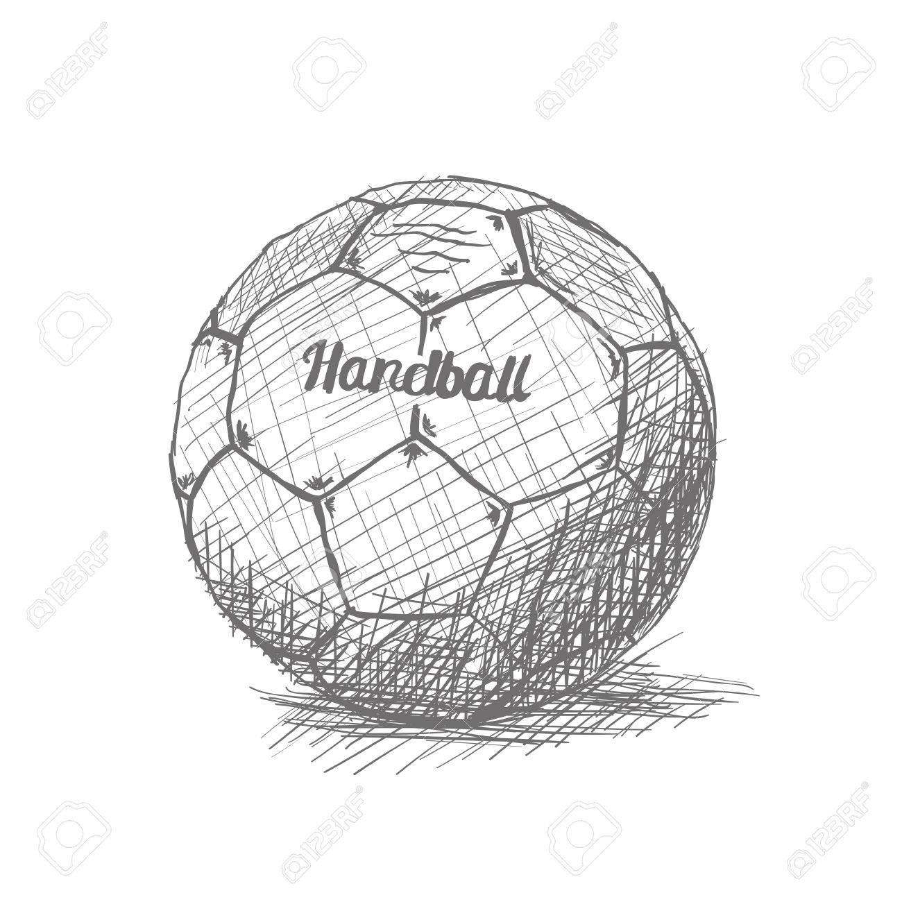 isolated sketch of a handball ball on a white background