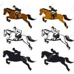 Man And Woman Riding Jumping Horse Set In Color Silhouette And Royalty Free Cliparts Vectors And Stock Illustration Image 66012761