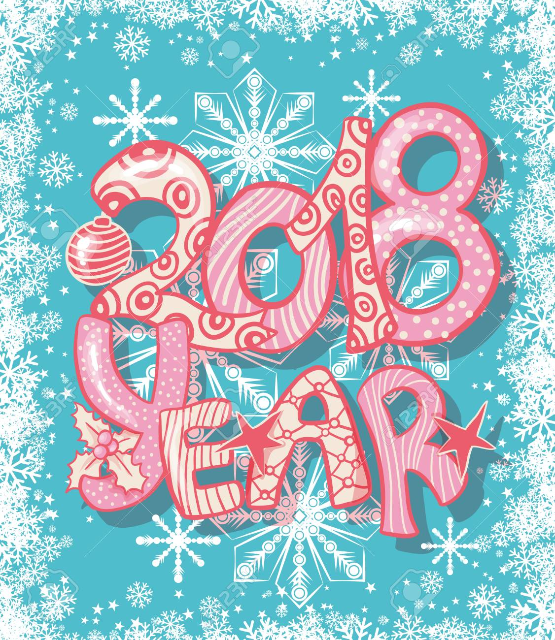 2018 New Year Gift Card With Hand Lettering. Colorful Xmas Letters With  Pattern. Stock