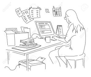 The Girl Is Working At The Table Outline By Hand Drawn Black Royalty Free Cliparts Vectors And Stock Illustration Image 110252524