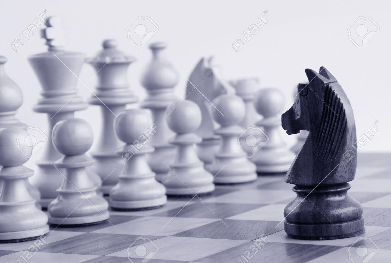 black knight facing white