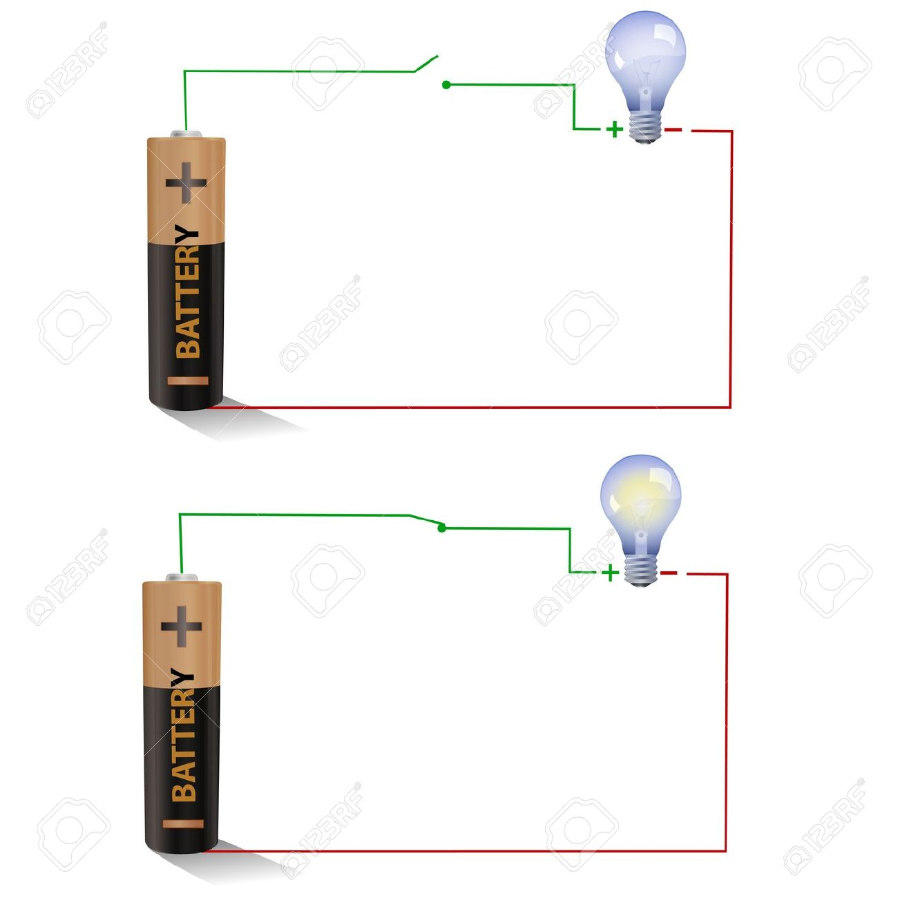 hight resolution of electric circuit showing open and closed switches using a light figure shows a simple circuit diagram with a battery an open switch