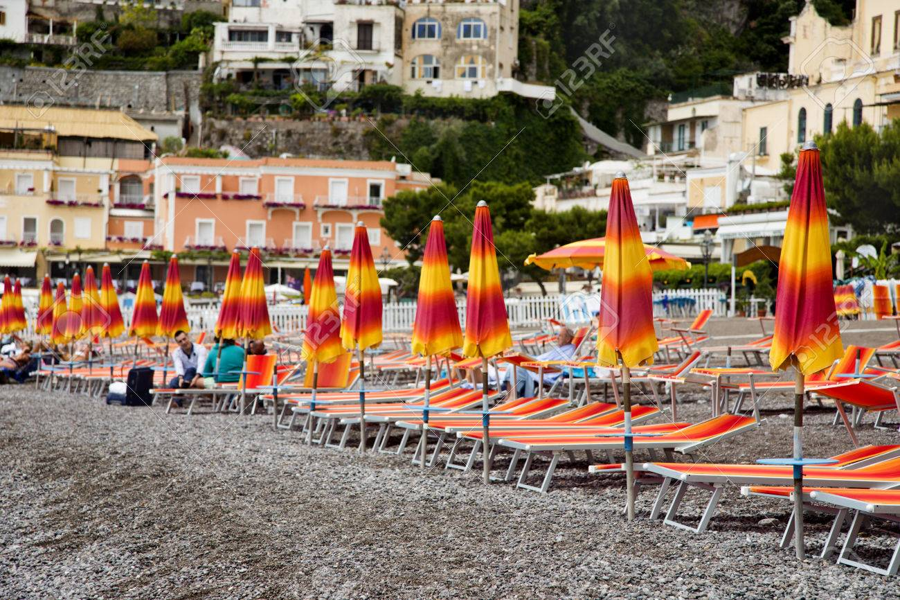 beach umbrellas and lounge chairs on the beach positano amalfi stock photo picture and royalty free image image 24794925