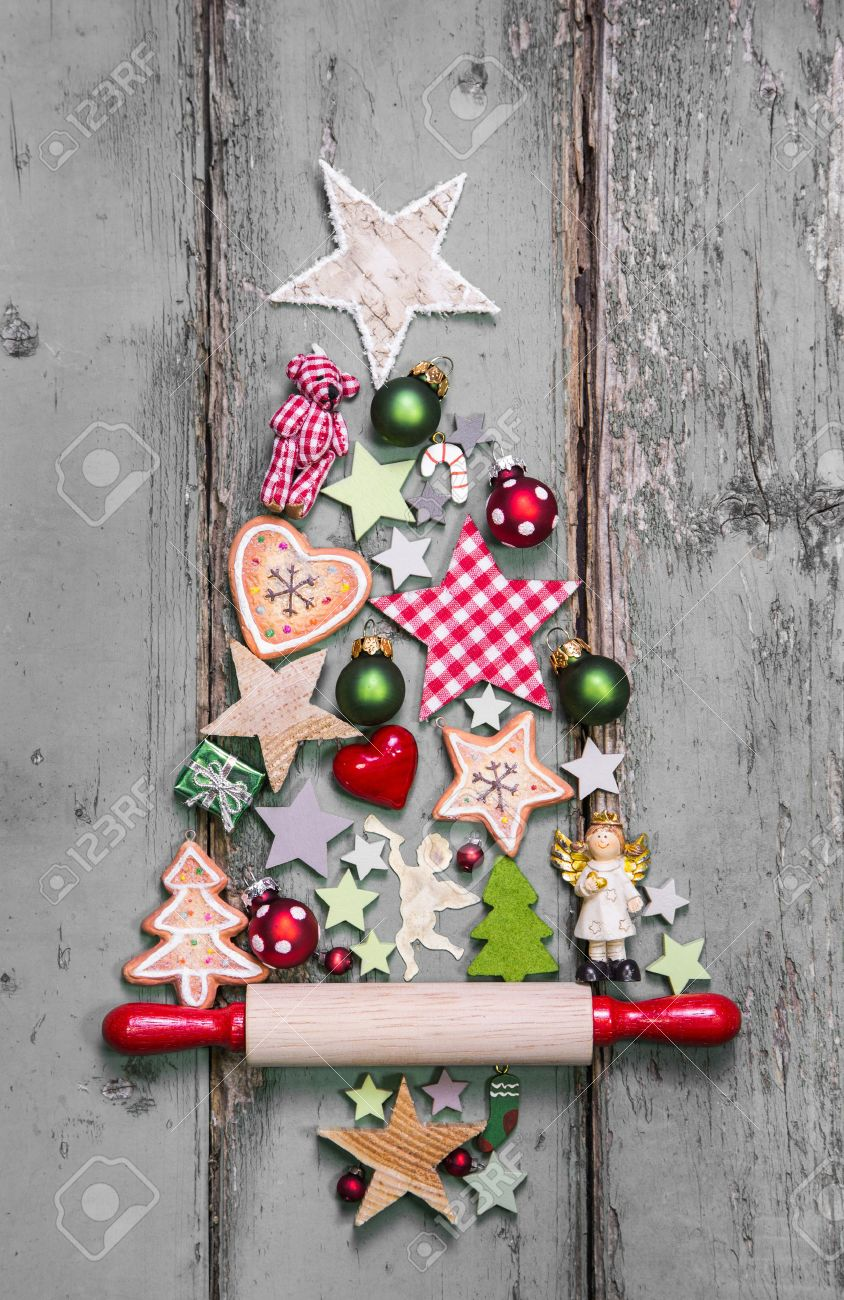 christmas tree decoration in shabby chic style an idea for a greeting card stock