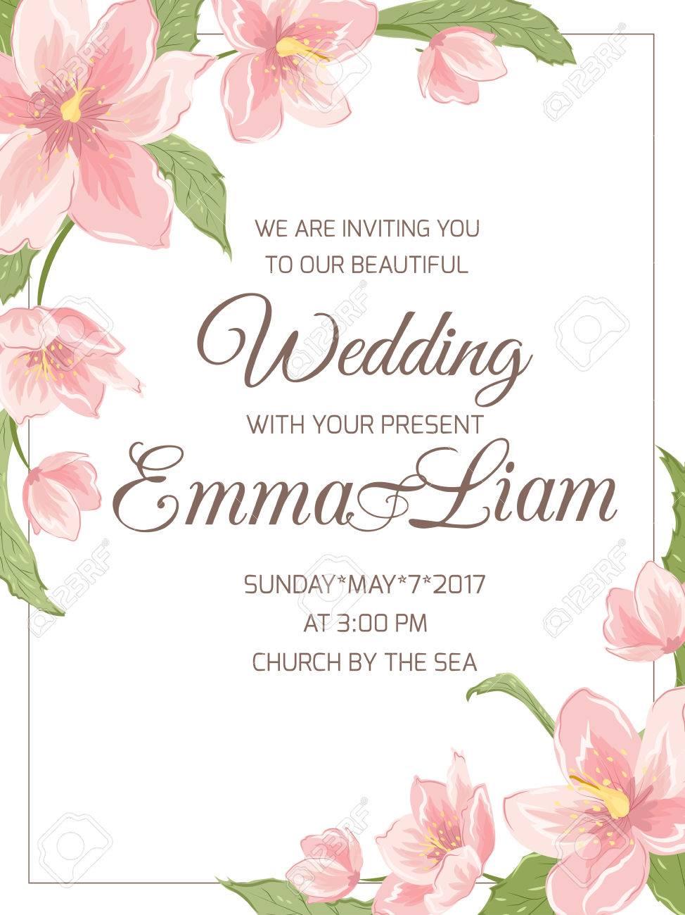 modele de carte d invitation mariage mariage rsvp magnolia sakura hellebore fleurs roses feuilles vertes decoration florale de bordure de coin