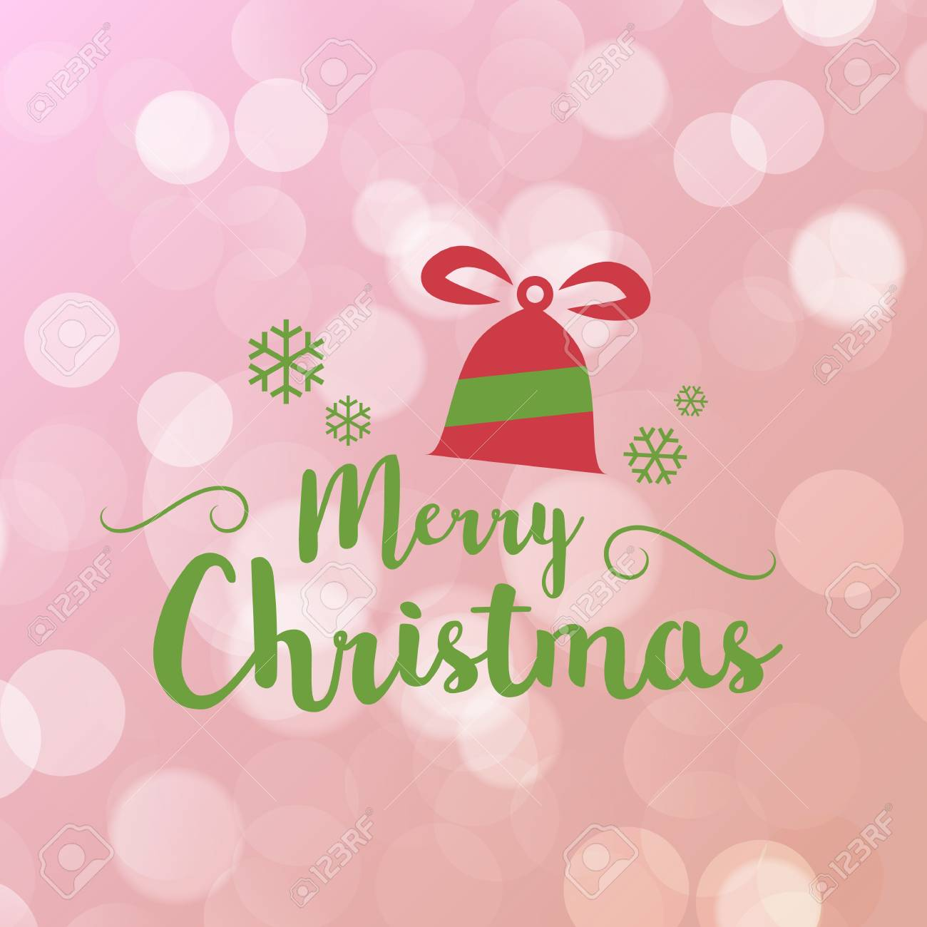 Merry Christmas And Happy New Year Greeting Card Typography Flyer Template  With Lettering. Bright Fall