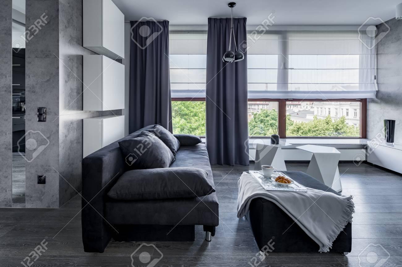 salon gris avec canape table basse pouf et grandes fenetres avec stores et rideaux banque d images et photos libres de droits image 89281505