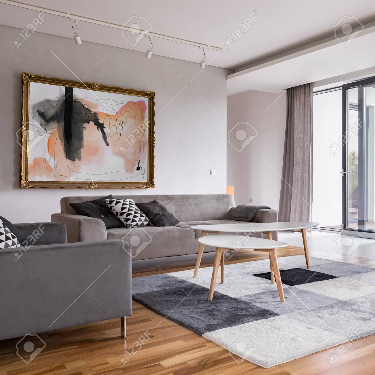 Square Frame Of Modern Living Room With Sofa Pattern Carpet Stock Photo Picture And Royalty Free Image Image 100872411