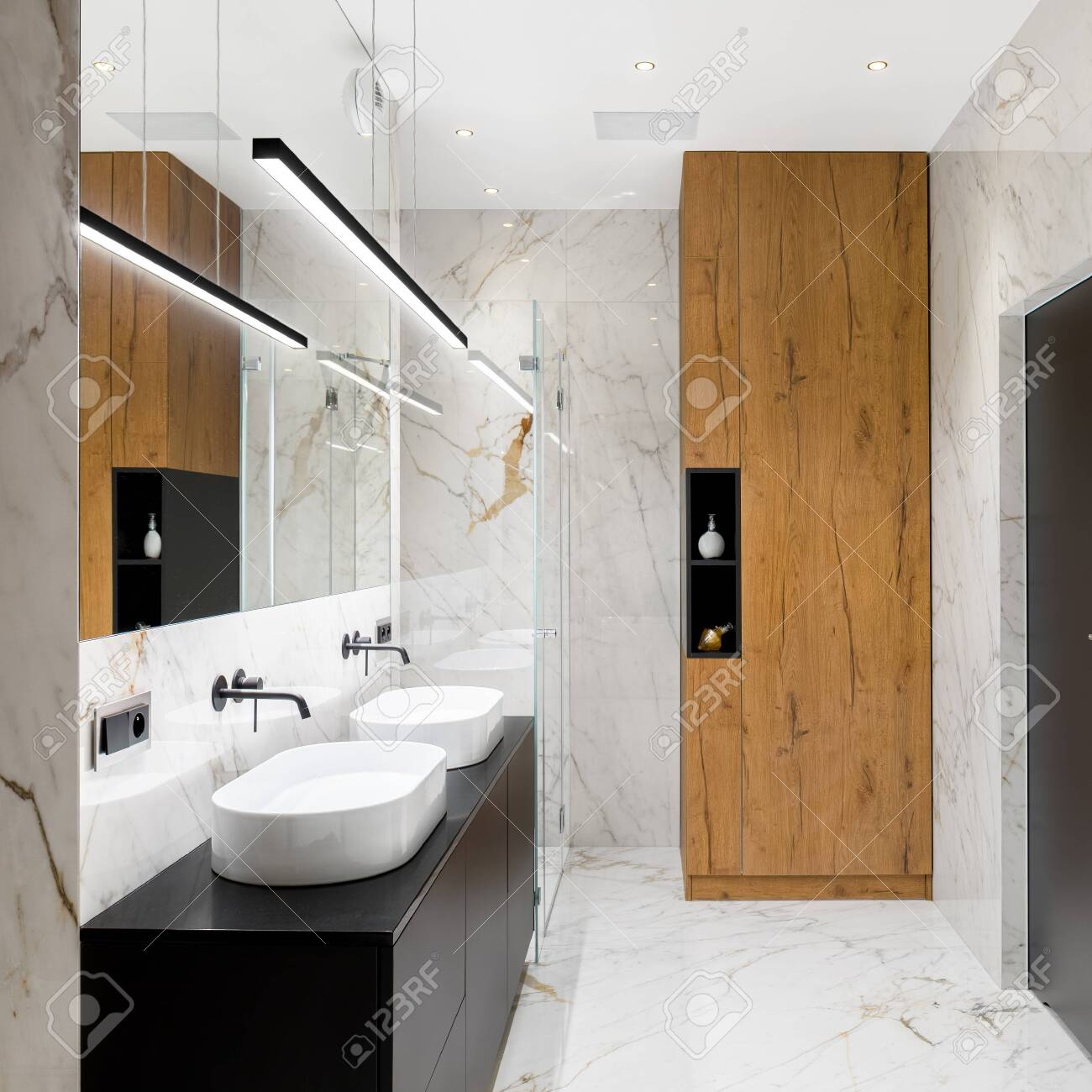 luxury bathroom with marble tiles on floor and walls two washbasins stock photo picture and royalty free image image 146770178