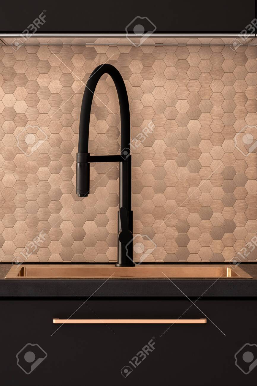 stylish copper kitchen sink with modern black faucet and elegant stock photo picture and royalty free image image 148286796