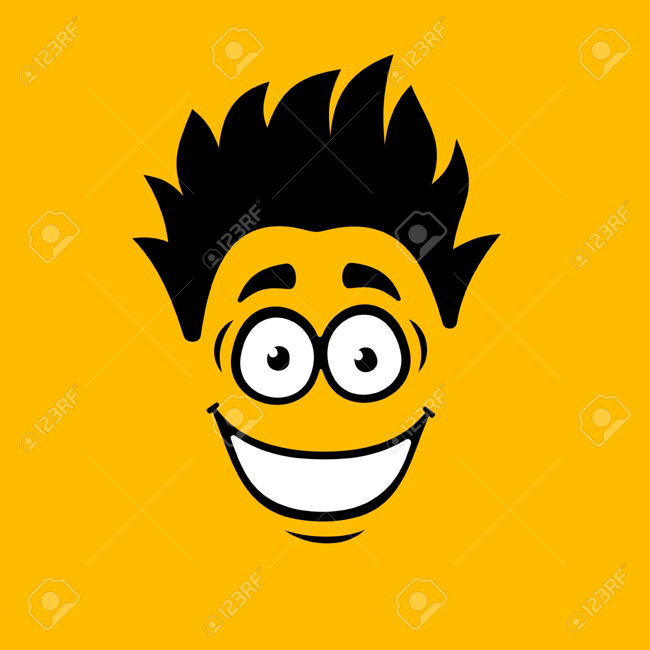smiling cartoon face on
