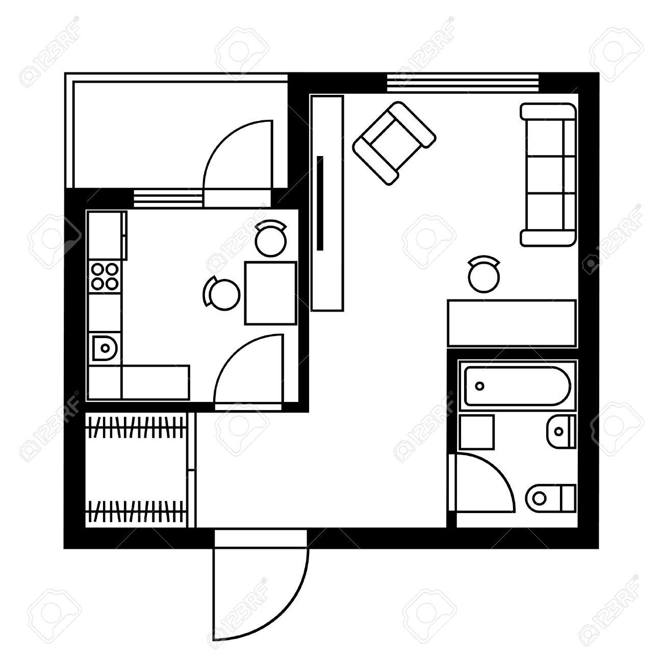 Plan Architecte Et Maison Plan De E Dune Maison Avec Des Meubles