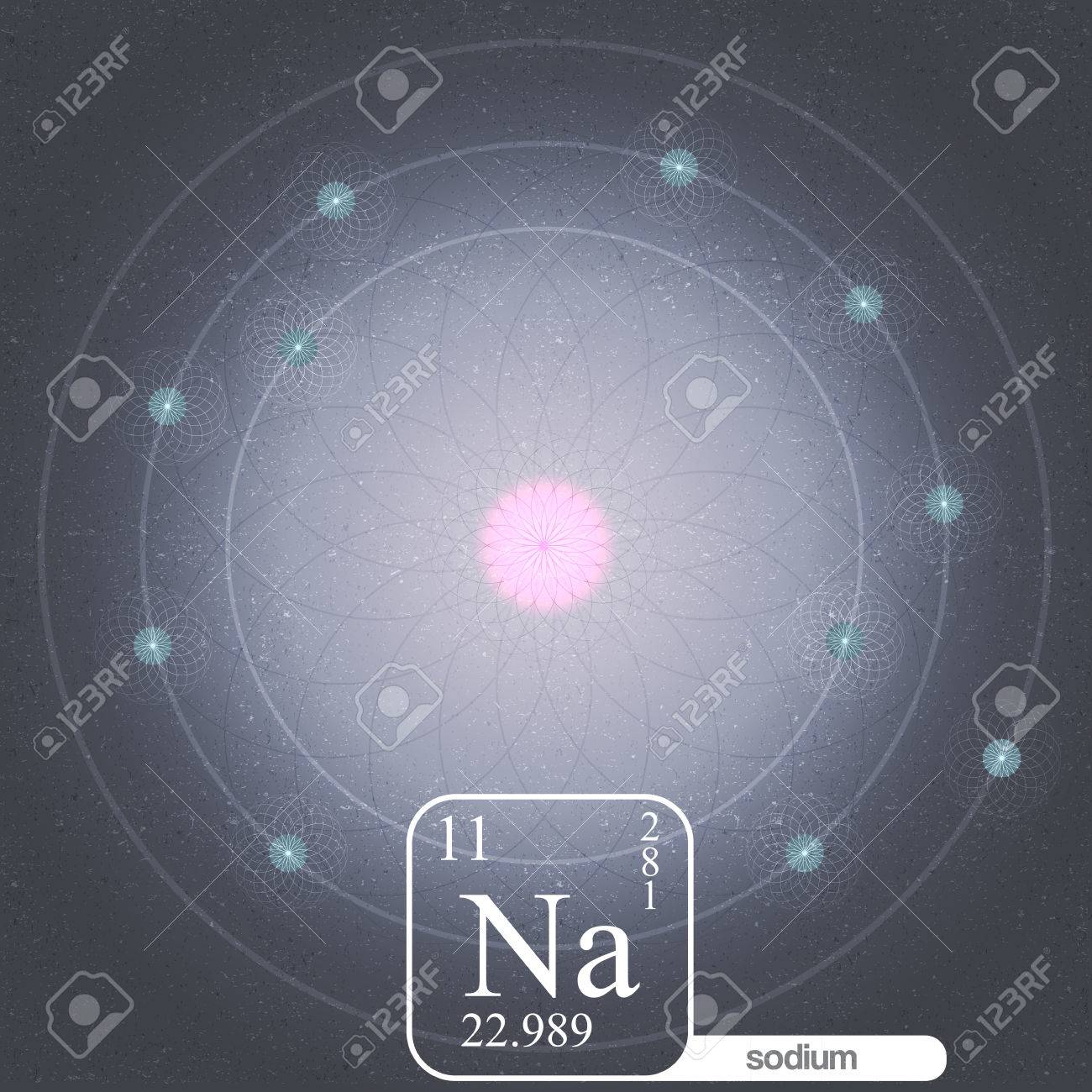 hight resolution of sodium atom with electron orbits and properties vector illustration stock vector 33059955