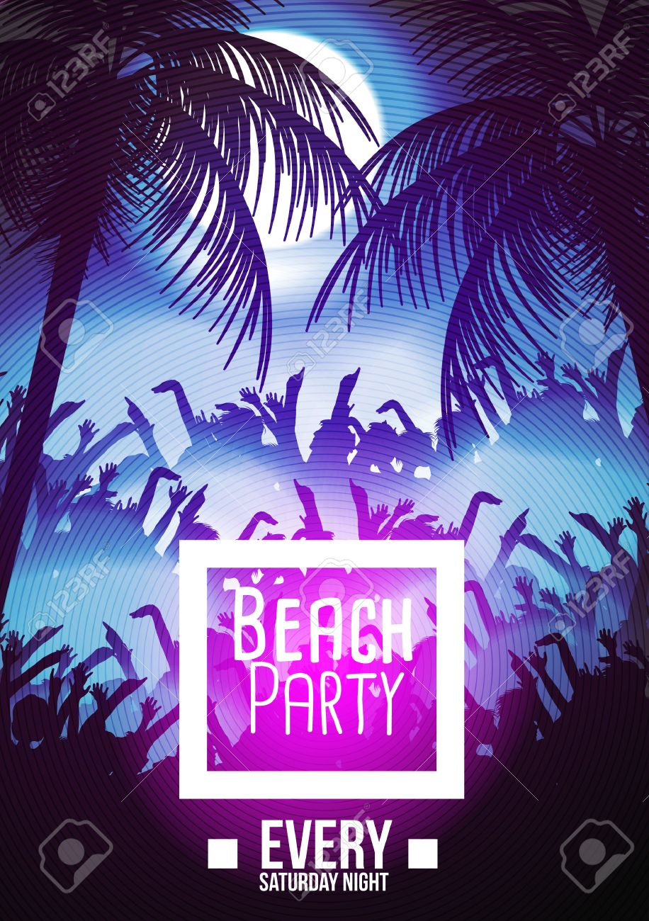 Summer Beach Night Party Flyer Template - Vector Illustration Stock Vector  - 44179729