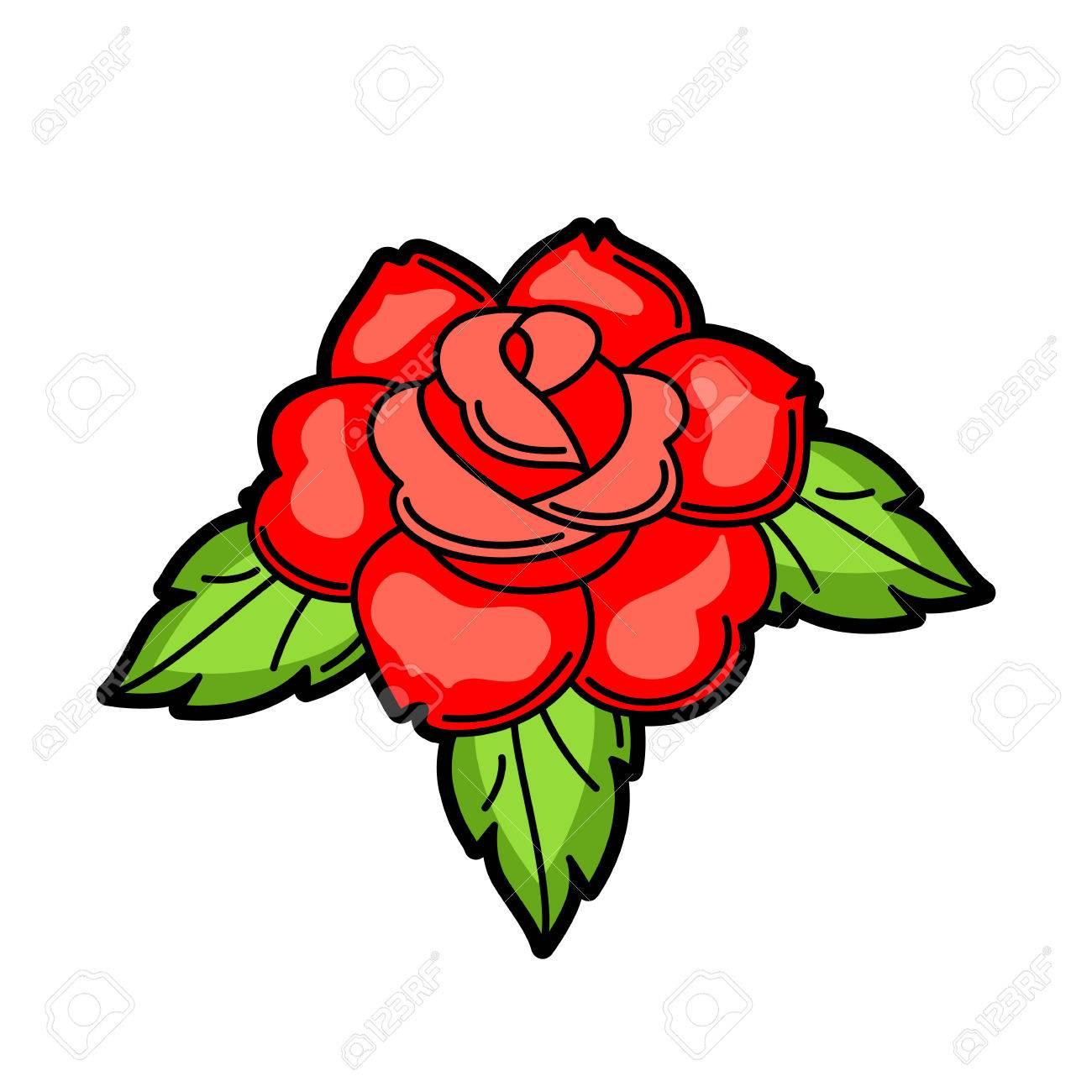 Símbolo Del Tatuaje Retro Rosa Ilustración De La Vieja Escuela De