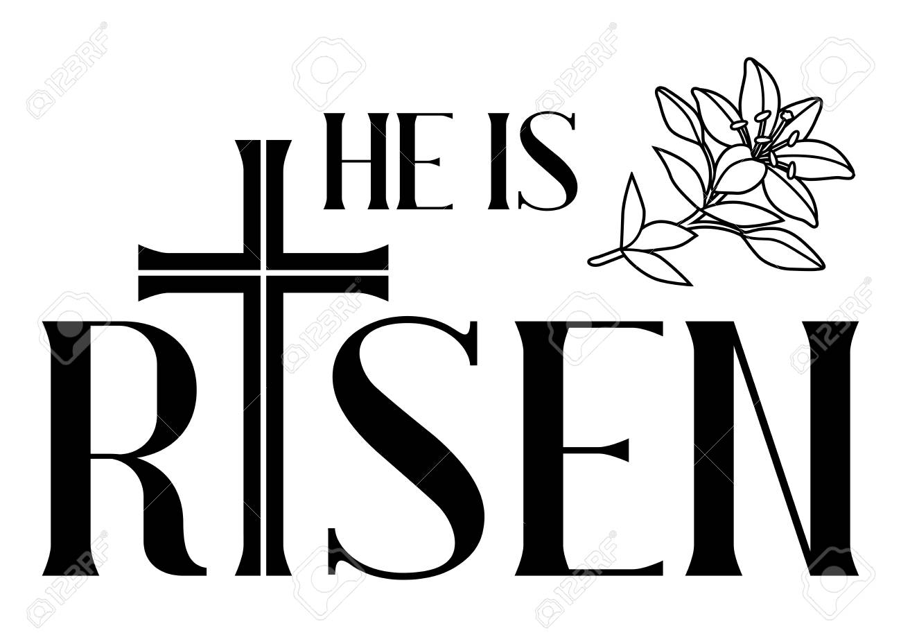 hight resolution of he is risen happy easter greeting card cross and lilies greeting card