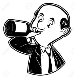 black and white clipart drunk man stock vector 19499018 [ 1212 x 1300 Pixel ]