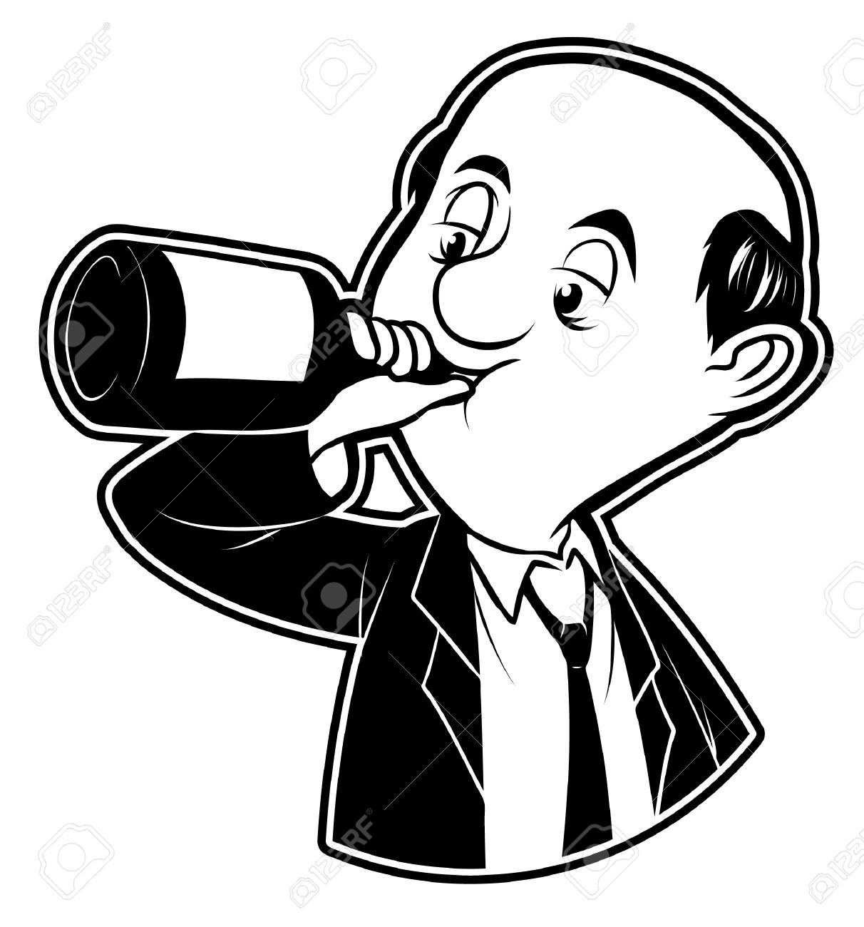 hight resolution of black and white clipart drunk man stock vector 19499018