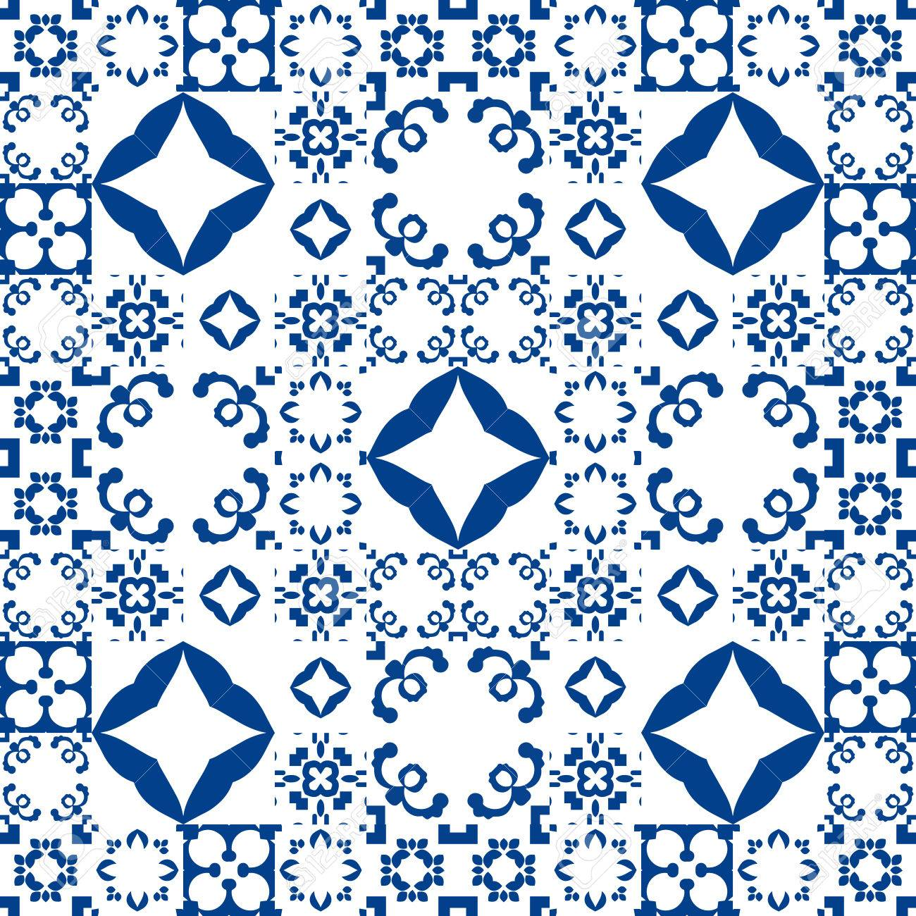 blue and white moroccan ceramic tiles patchwork pattern style