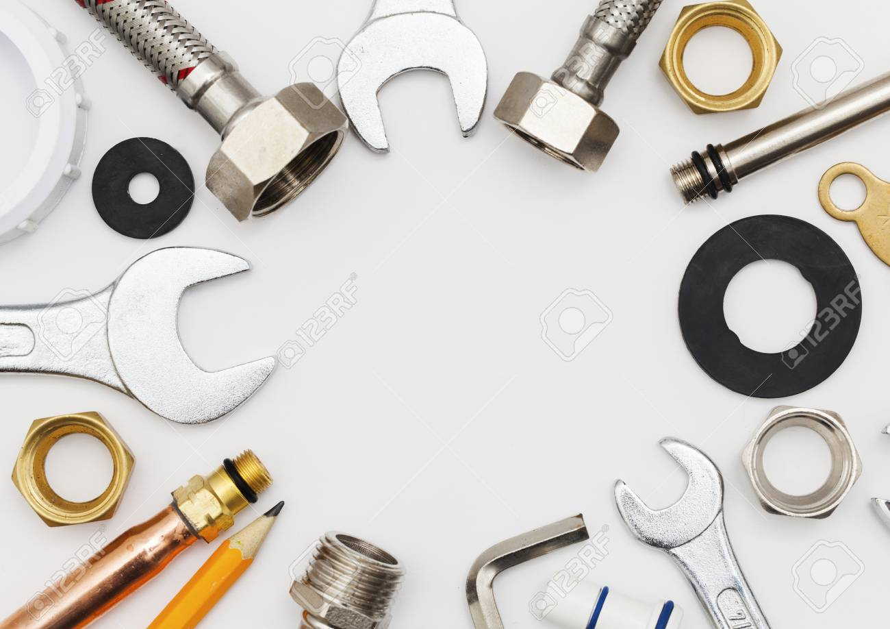 Plumbing Tools And Equipment Overhead View With Copy Space Stock Photo Picture And Royalty Free Image Image 92813300