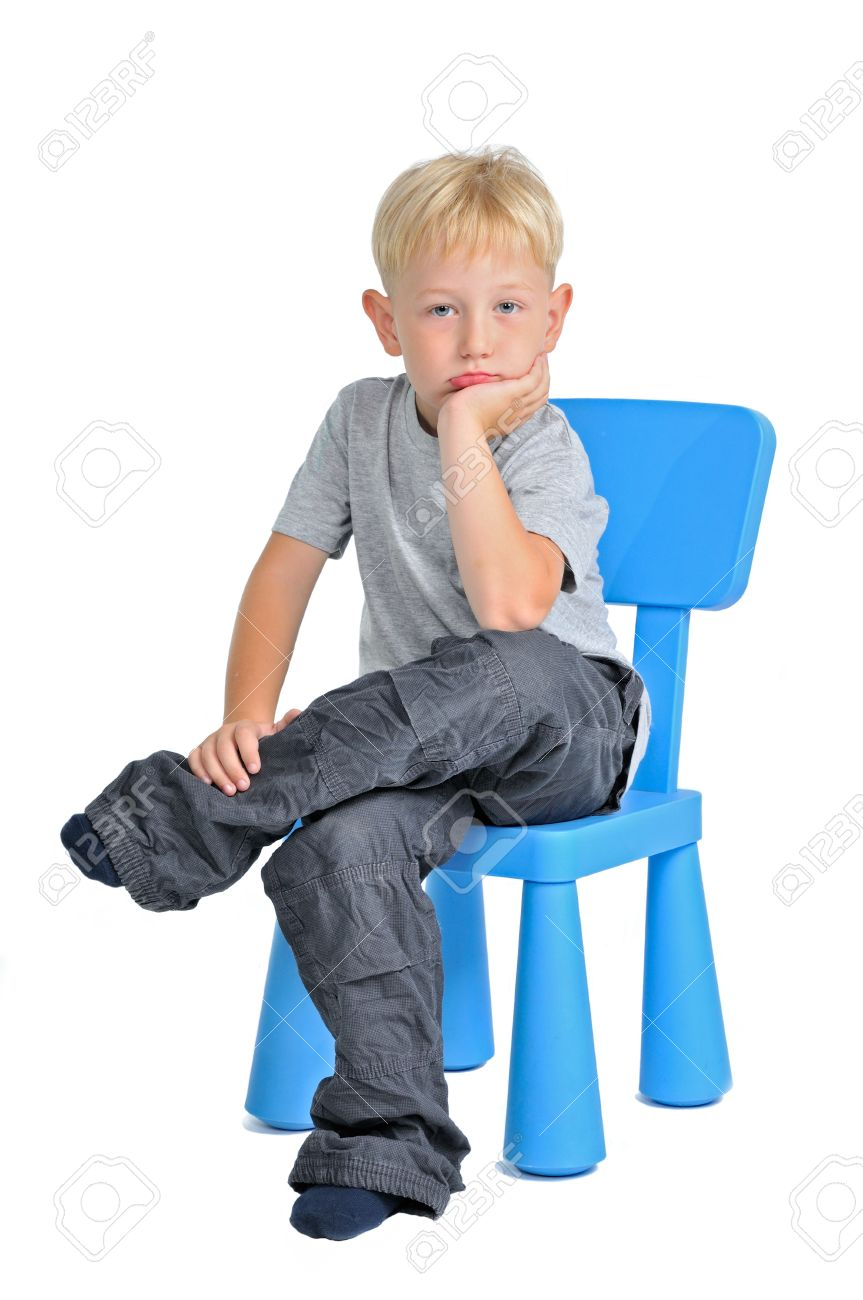 Boys Chair Sad Boy Sitting On A Chair Isolated On White Background