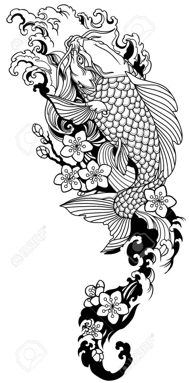 Koi Swimming Upstream : swimming, upstream, Swimming, Upstream, Sakura, Blooming., Japanese, Gold.., Royalty, Cliparts,, Vectors,, Stock, Illustration., Image, 148797792.