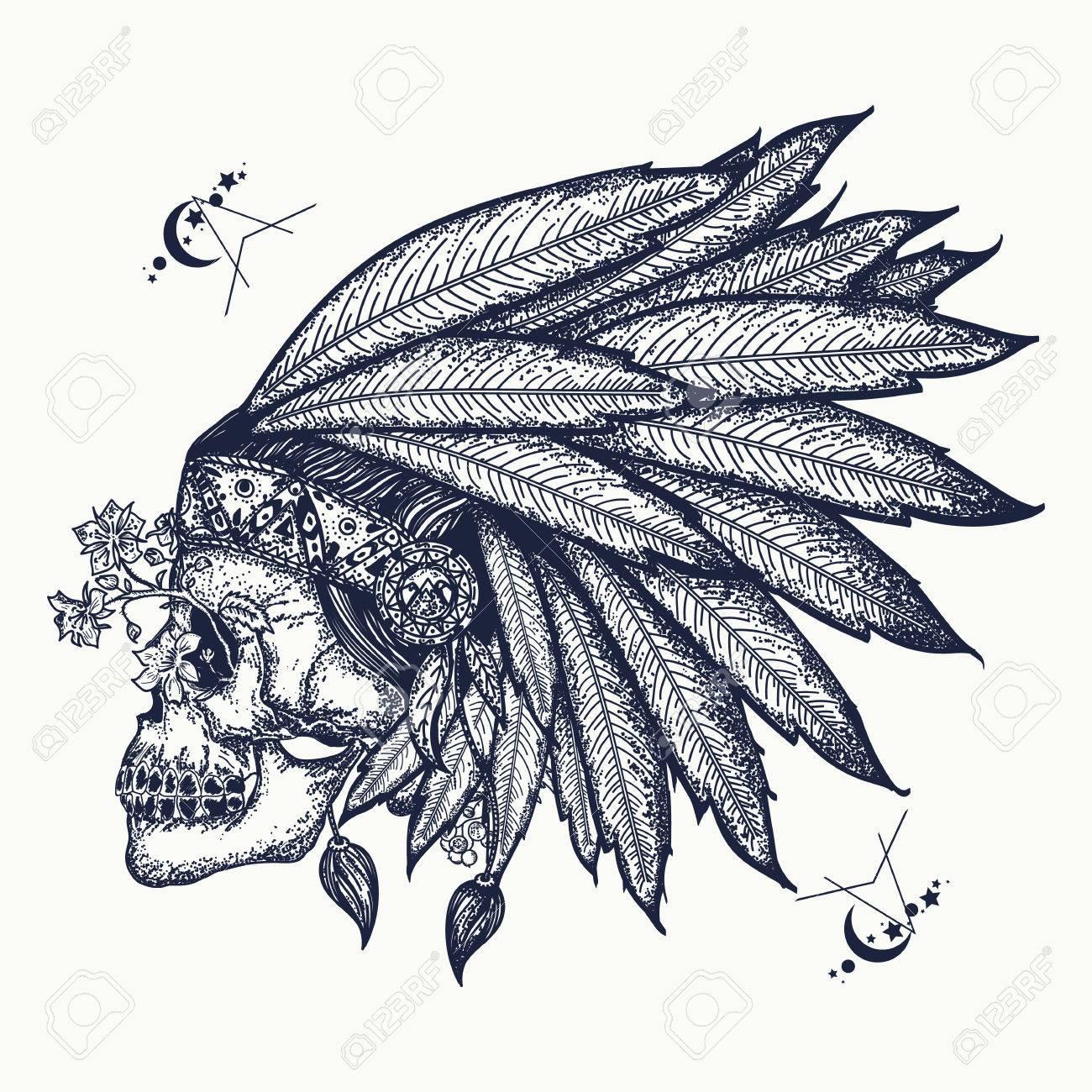 Arte Del Tatuaje Del Cráneo Indio Símbolo De Guerrero Nativo