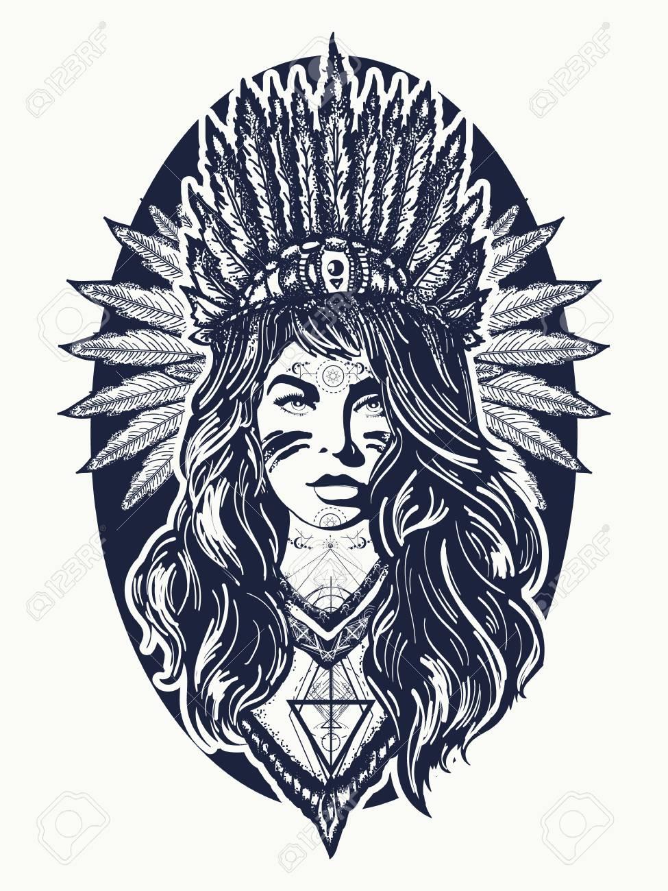 Arte Del Tatuaje Mujer Americana Nativa Guerrero De La Muchacha