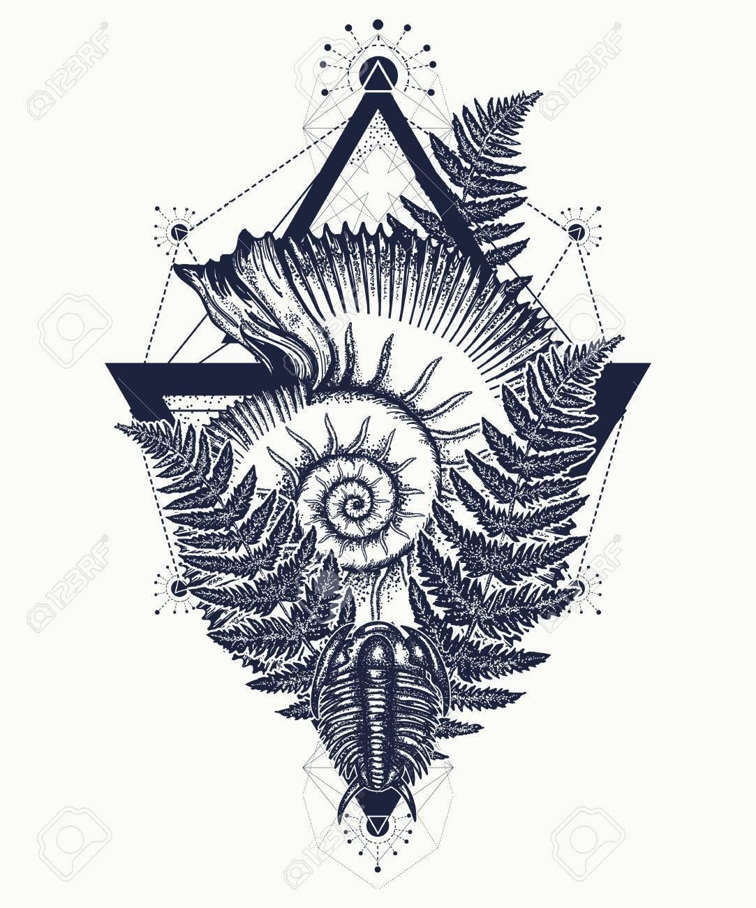 Ammonite Tattoo : ammonite, tattoo, Nautilus, Shell, Prehistoric, Tattoo, Ancient, Ammonite, The.., Royalty, Cliparts,, Vectors,, Stock, Illustration., Image, 75443841.