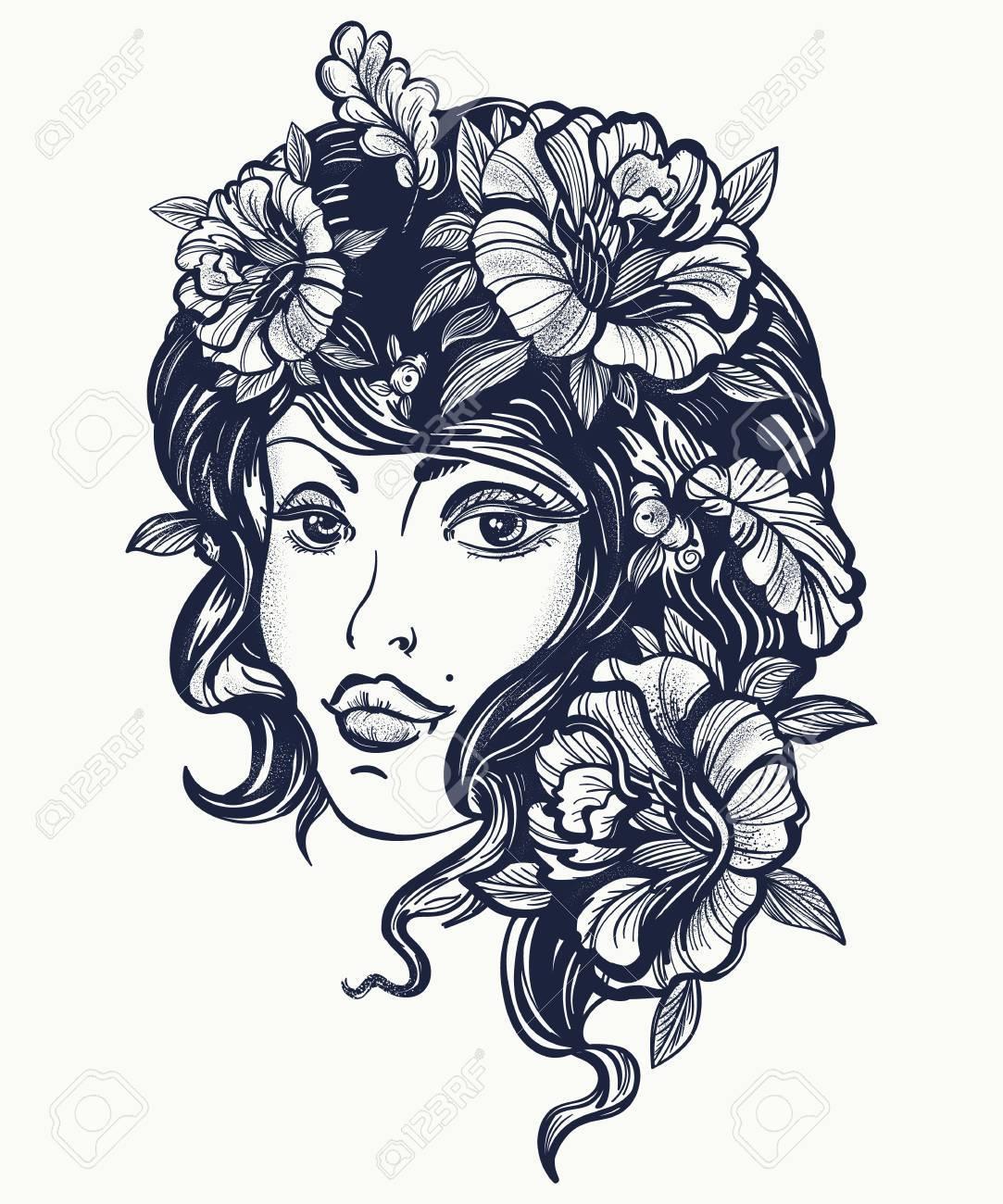 Tatuaje De La Vieja Escuela De La Mujer De La Naturaleza Del Otoño