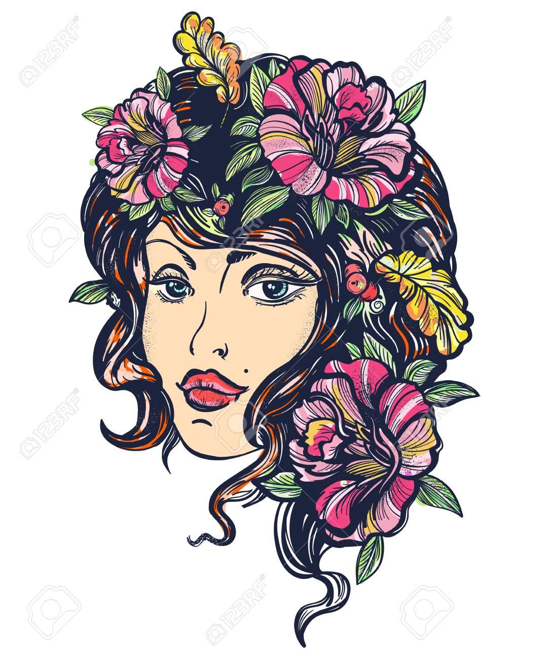 Tatuaje Del Color De La Escuela Vieja De La Mujer De La Naturaleza