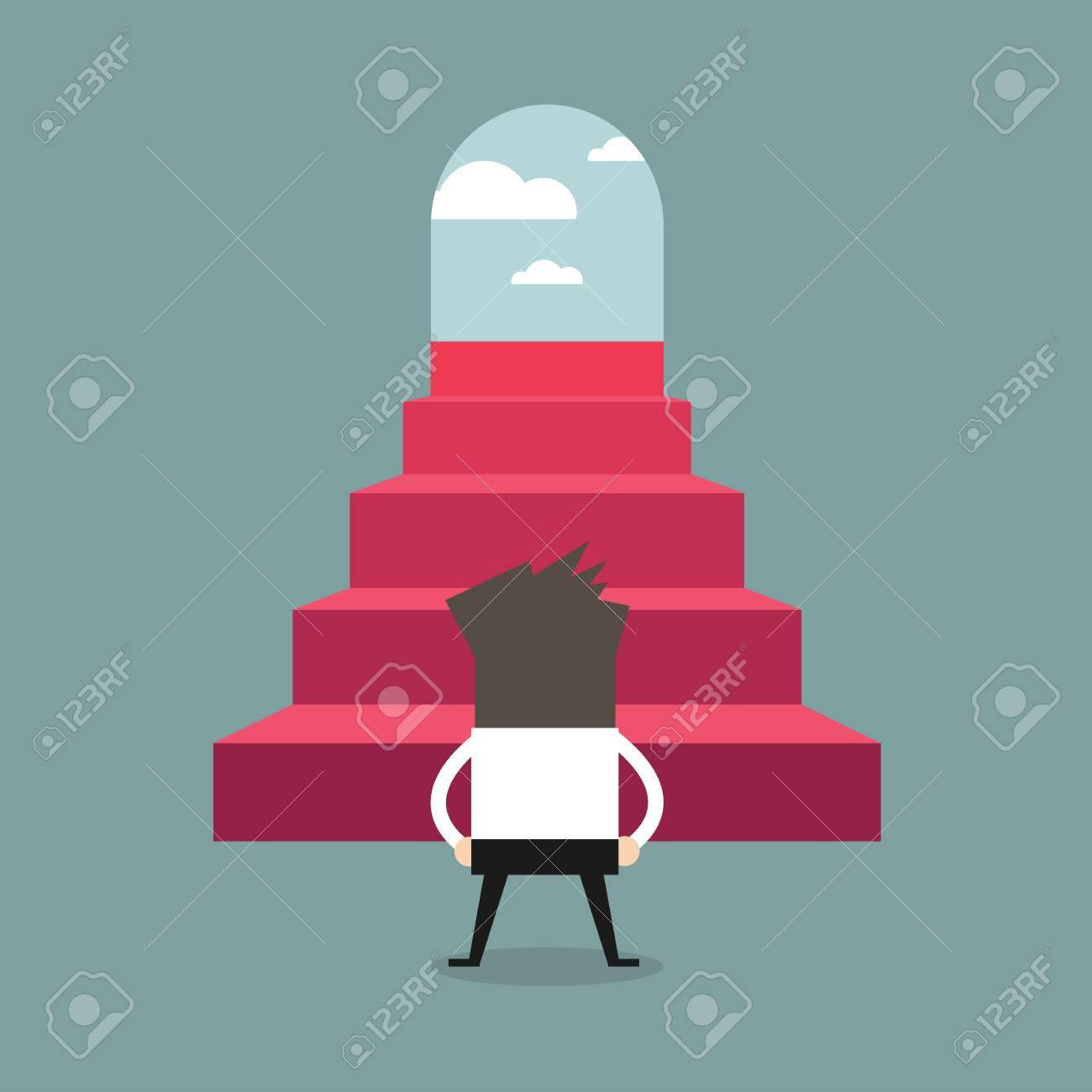 successful businessman climbing steps