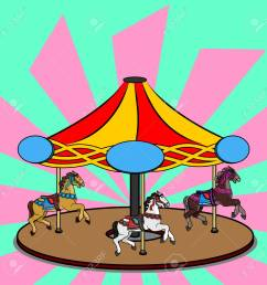 full color vector illustration of a carousel with three photorealistic horses bright colorful clipart [ 1300 x 1300 Pixel ]