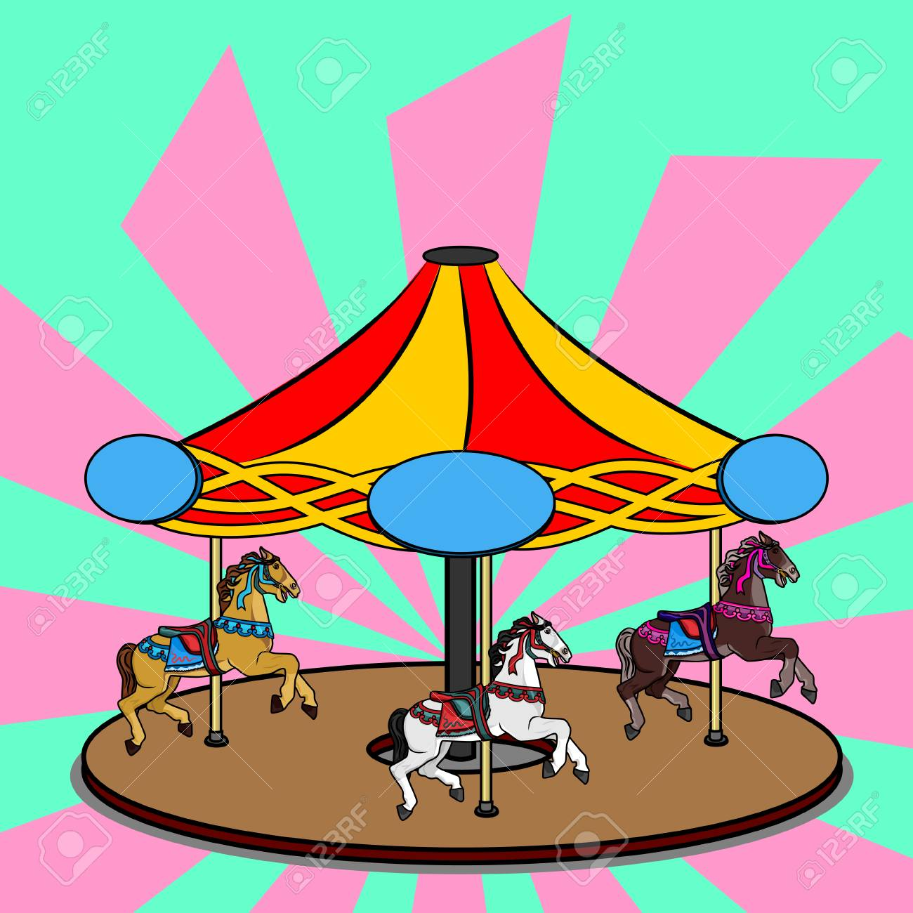 hight resolution of full color vector illustration of a carousel with three photorealistic horses bright colorful clipart