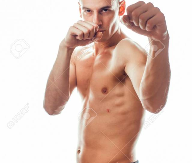 Stock Photo Young Handsome Naked Torso Man Boxing On White Background Isolated Lifestyle Sport Real People Concept