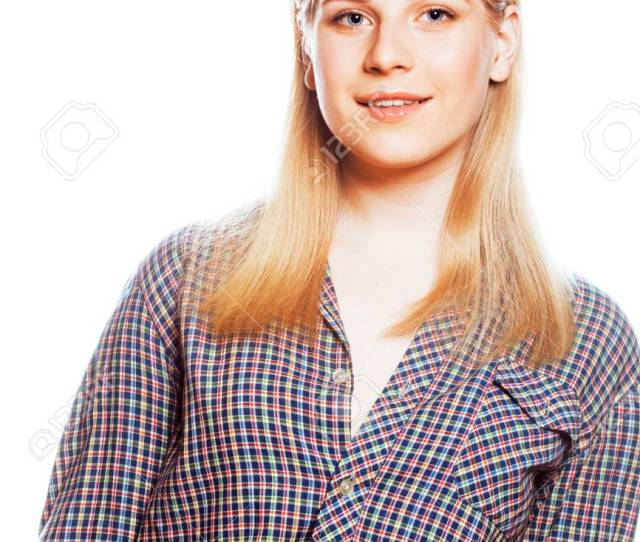 Stock Photo Young Pretty Girl Blond Teenager On White Isolated Blond Happy Smiling Lifestyle People Concept Close Up