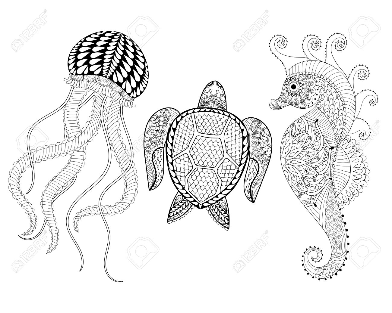 Hand Drawn Sea Horse Jellyfish And Turtle For Adult Coloring